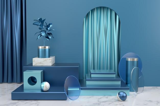 Visualizza il podio per la presentazione del prodotto. sfondo geometrico astratto. sfondo di oggetti geometrici astratti utilizzando materiali blu e marmo lucidi.