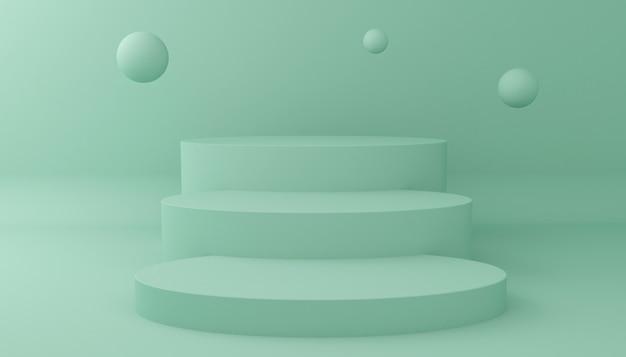 Visualizza lo sfondo per la presentazione del prodotto cosmetico. vetrina vuota, rappresentazione dell'illustrazione 3d.