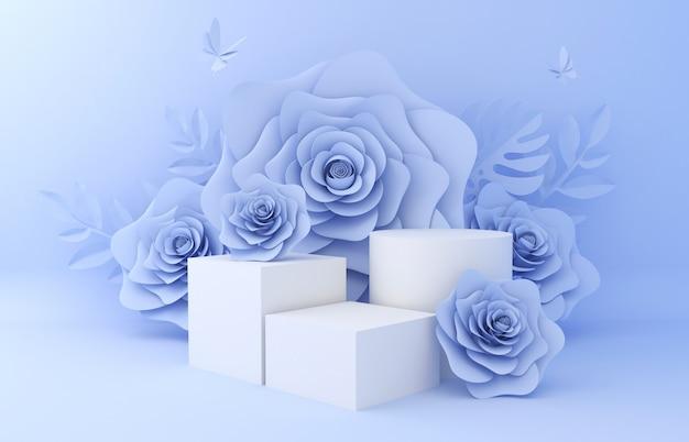Visualizza lo sfondo per la presentazione del prodotto cosmetico. vetrina vuota, rappresentazione dell'illustrazione della carta del fiore 3d.
