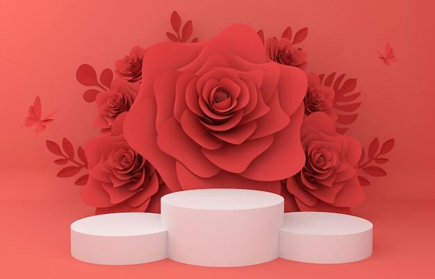 Visualizza podio per la presentazione del prodotto. illustrazione di fiori rendering 3d