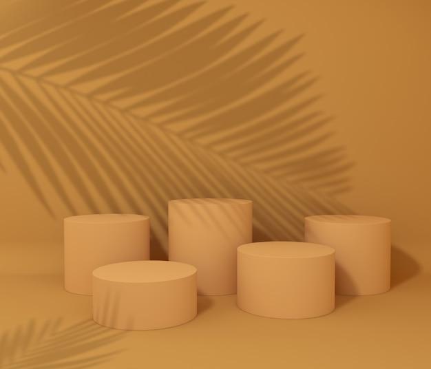 Visualizza podio per presentazione del prodotto, ombra dell'albero tropicale