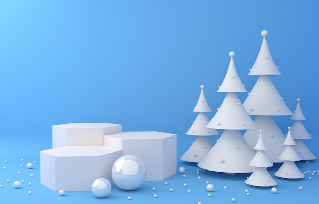 Visualizza sfondo e pino bianco per la presentazione del prodotto
