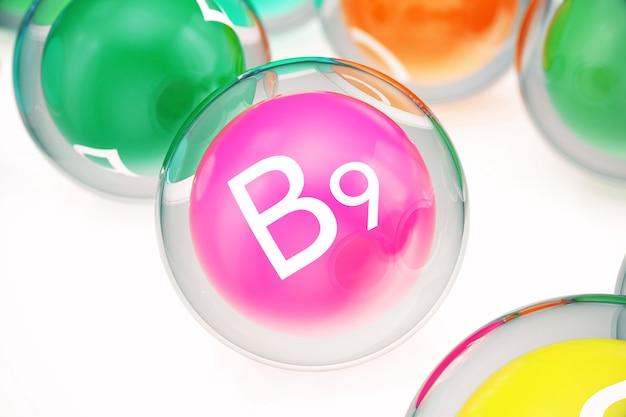 Vitamina b9, isolata su bianco. simbolo di salute e longevità, rappresentazione 3d