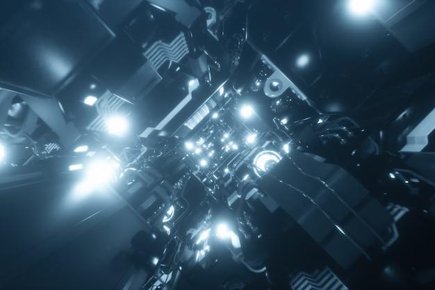 Volando nel tunnel dell'astronave, corridoio dell'astronave di fantascienza