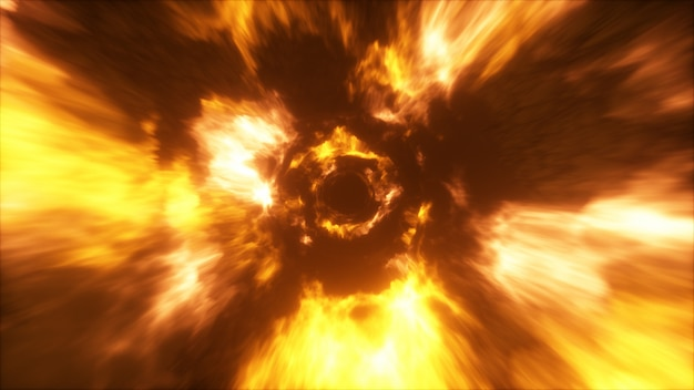 Volare in un tunnel colorato astratto di energia nello spazio
