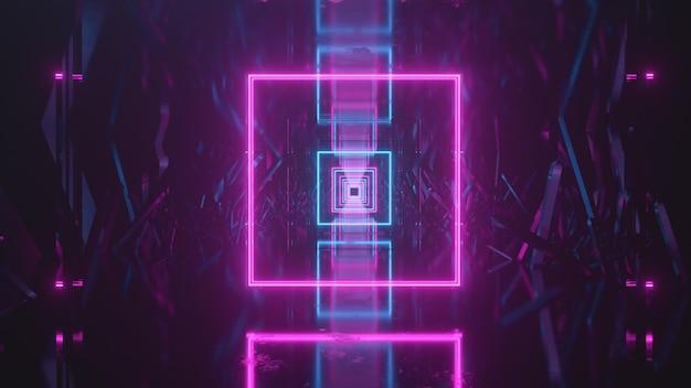 Volare nello spazio astratto lungo blocchi cristallini. luce al neon avanti.