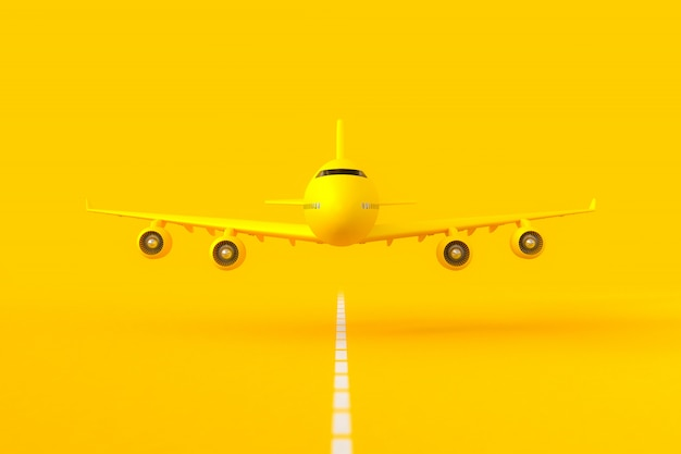 Volo aereo giallo sulla pista.