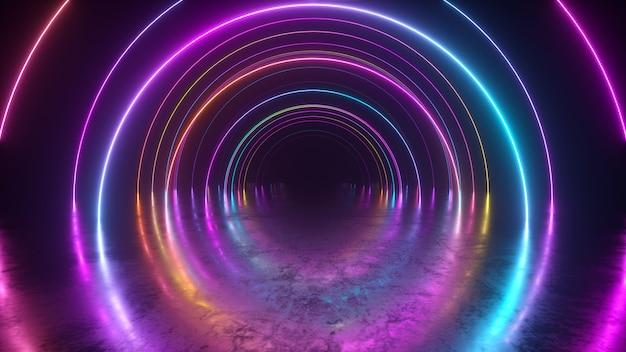 Volo all'infinito all'interno del tunnel, sfondo astratto di luce al neon, portico rotondo, portale, anelli, cerchi, realtà virtuale, spettro ultravioletto, spettacolo laser, riflesso del pavimento in metallo. illustrazione 3d