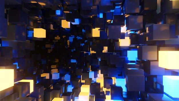 Volo astratto in sfondo futuristico corridoio, luce ultravioletta fluorescente, incandescente cubi al neon colorati, tunnel geometrico infinito, spettro giallo blu