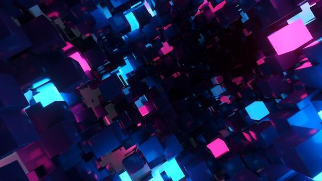 Volo astratto sullo sfondo del corridoio futuristico, luce ultravioletta fluorescente, cubi al neon colorati luminosi, tunnel geometrico infinito, spettro blu viola