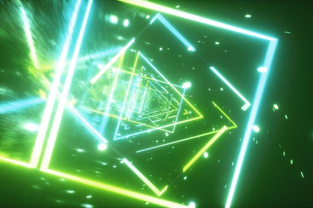 Volo pazzo in uno spazio futuristico retrò attraverso figure luminose al neon nello stile degli anni '80