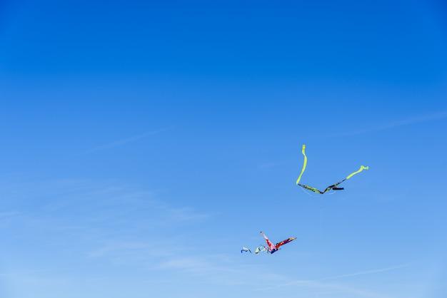 Volo variopinto dell'aquilone nel cielo blu