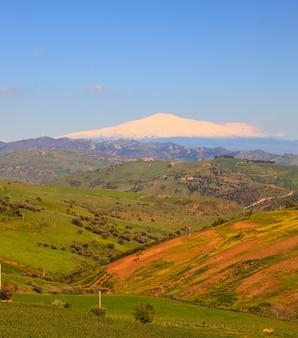 Vulcano dell'etna e campo della sicilia