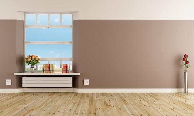 Vuoto interiore moderno con radiatore