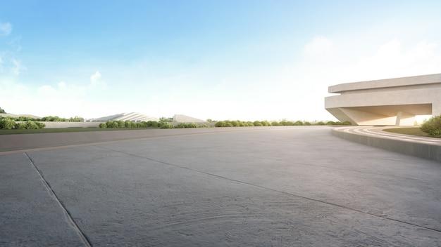 Vuoto pavimento di cemento nel parco cittadino.