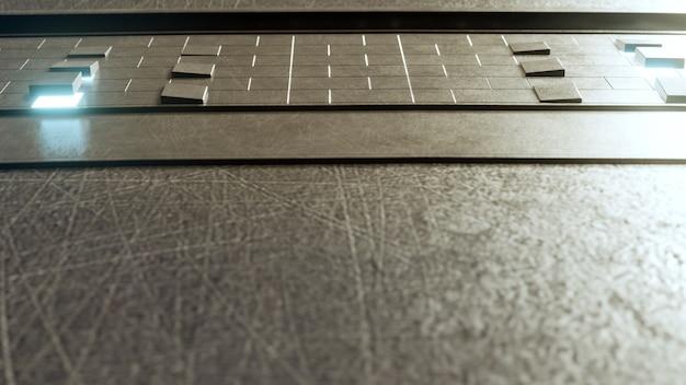 Vuoto pavimento in acciaio o cemento nella futura architettura