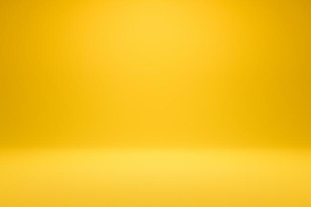 Vuoto sfondo giallo e riflettori. rendering 3d realistico.