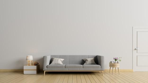 Vuoto soggiorno con divano, lampada hanno muro bianco