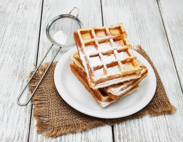 Waffle belgi sul tavolo