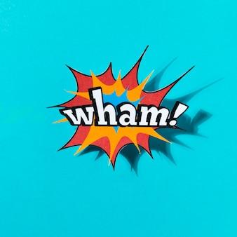 Wham parola effetto fumetto su sfondo blu