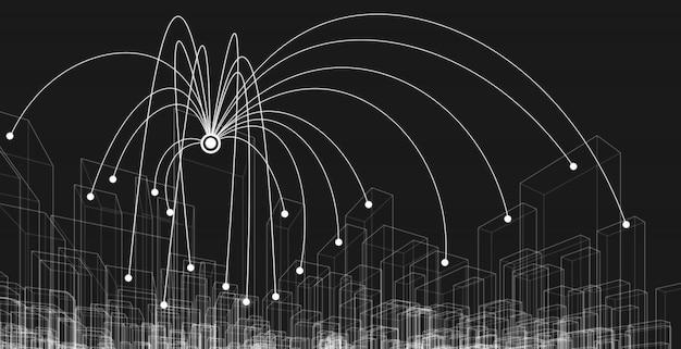 Wireframe di paesaggio urbano della connessione di rete, concetto di grandi dati.