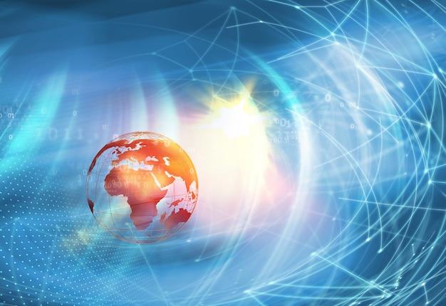 World news background-earth globe con linee di connessione