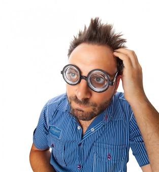 Wow espressione con occhiali da vista