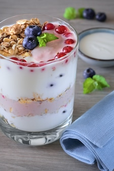 Yogurt con muesli e frutti di bosco, dessert sano