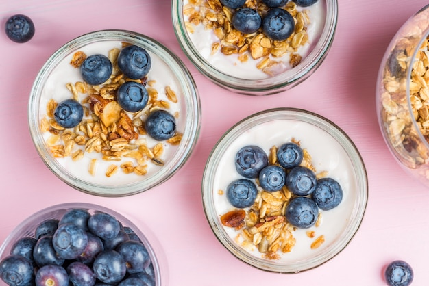 Yogurt con muesli e mirtilli fatti in casa