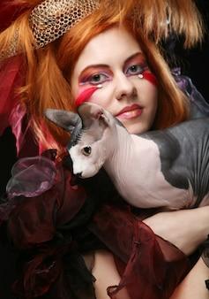 Yong principessa con gatto,