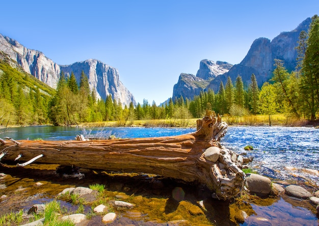 Yosemite merced river el capitan e half dome