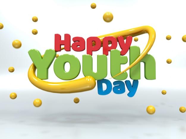 Youth day 3d testo colorato galleggiante su bianco