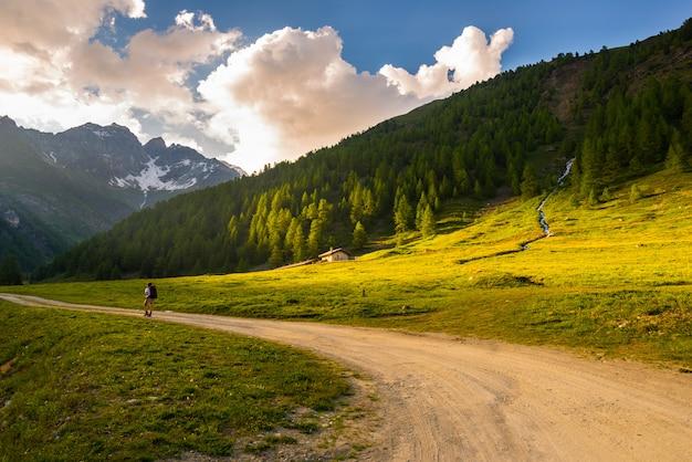 Zaino in spalla escursioni in un paesaggio idilliaco. avventure estive ed esplorazione sulle alpi, attraverso prati fioriti e boschi verdi immersi nella catena montuosa d'alta quota al tramonto