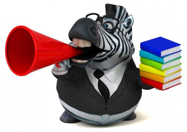 Zebra divertente con i libri