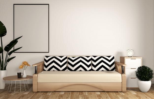 Zen moderno soggiorno con divano, struttura, pavimento in legno e parete bianca in stile zen