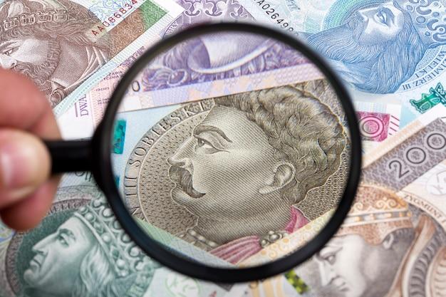 Zloty polacco in uno sfondo di lente di ingrandimento