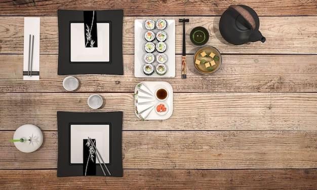 Zolla dei sushi della rappresentazione 3d con la minestra nera della ciotola sul tavolo da pranzo