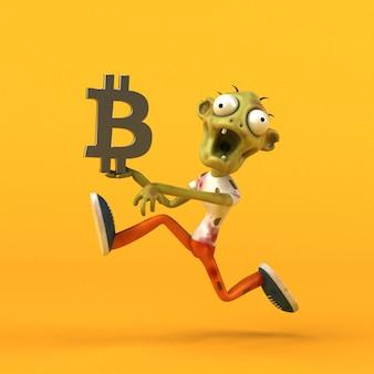 Zombie e bitcoin - personaggio 3d