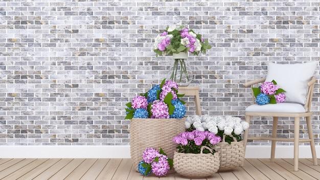 Zona giorno e fiori colorati in appartamento o casa 3d