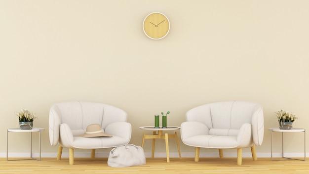 Zona giorno nella caffetteria o lounge - rendering 3d