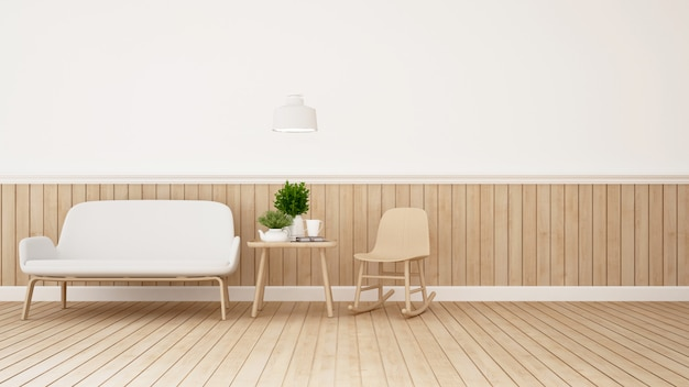 Zona giorno nella caffetteria o nella stanza dei bambini - rendering 3d