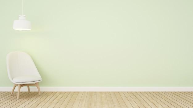 Zona giorno tono verde in appartamento