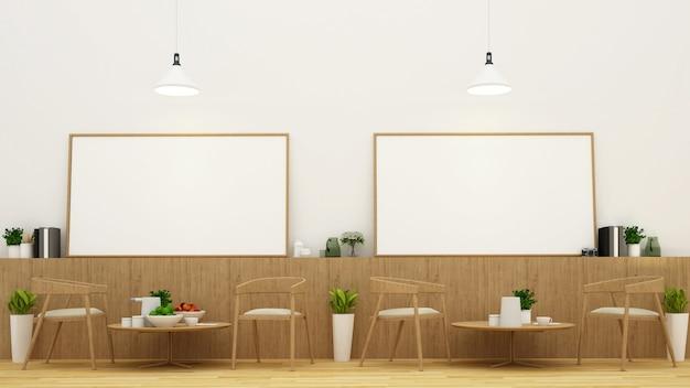 Zona pranzo e cornice nel ristorante o nella caffetteria - rendering 3d