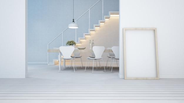 Zona pranzo tonalità bianca in appartamento o condominio