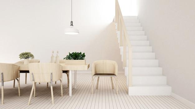 Zona pranzo tonalità bianca in casa o appartamento - rendering 3d
