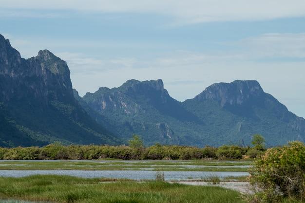 Zona umida dell'acqua dolce con paesaggio della montagna del calcare al parco nazionale di khao sam roi yod, provincia di prachuap khiri khan tailandia.