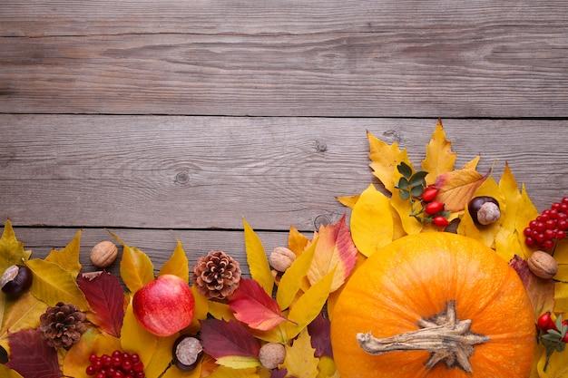 Zucca arancio con le foglie e le verdure su una tavola grigia