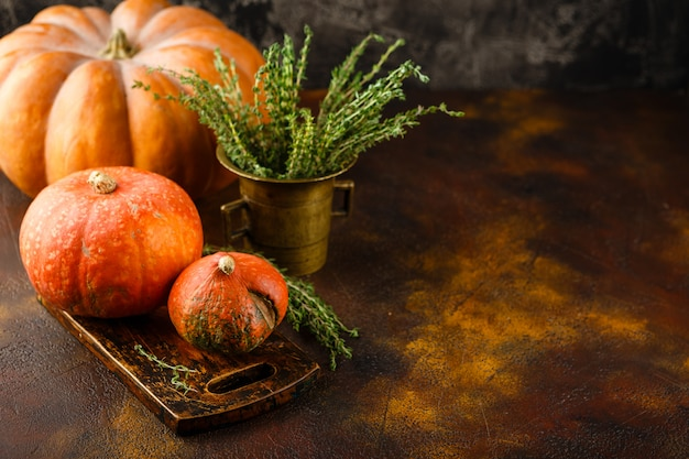 Zucca, basilico e timo su un tavolo arrugginito