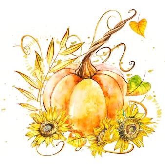 Zucca con girasoli. pittura ad acquerello disegnata a mano su bianco. illustrazione ad acquerello con una spruzzata.