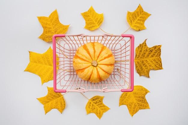 Zucca di autunno in cestino dell'alimento e fogli di caduta su bianco